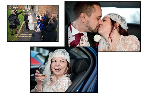 First chance to relax in the wedding car with each other and a bottle of champagne!