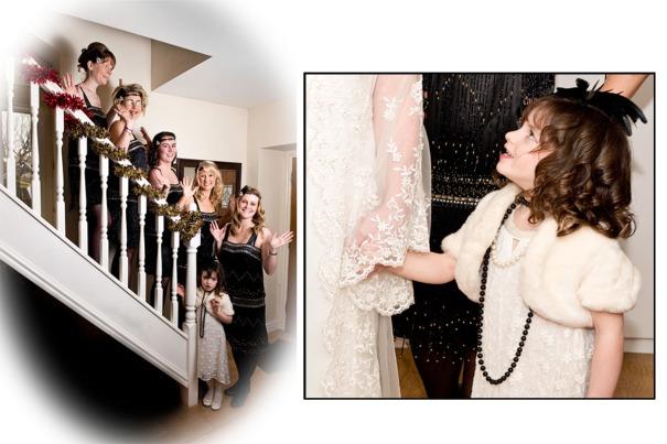 Bridesmaids together - 'jazz hands'!