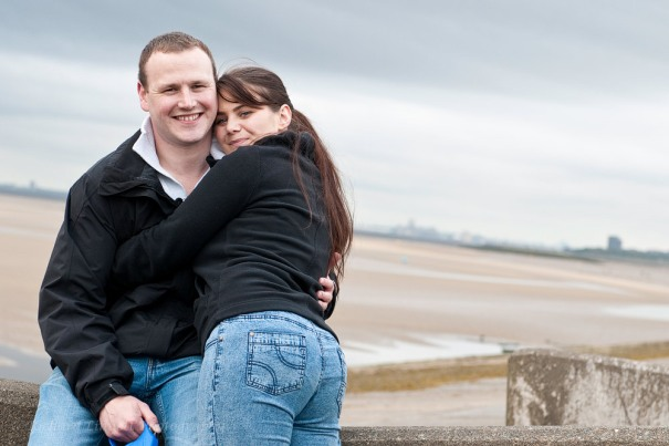 Engagement portrait on the Wirral coast