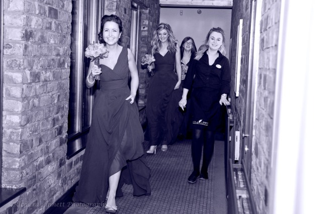 Bridesmaids going to ceremony