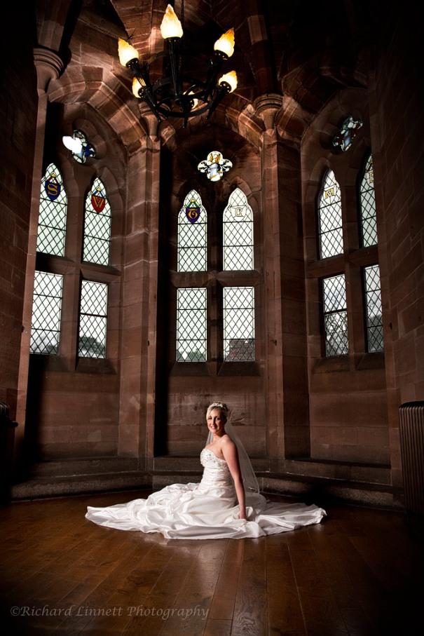 Bridal portrait at Peckforton Castle