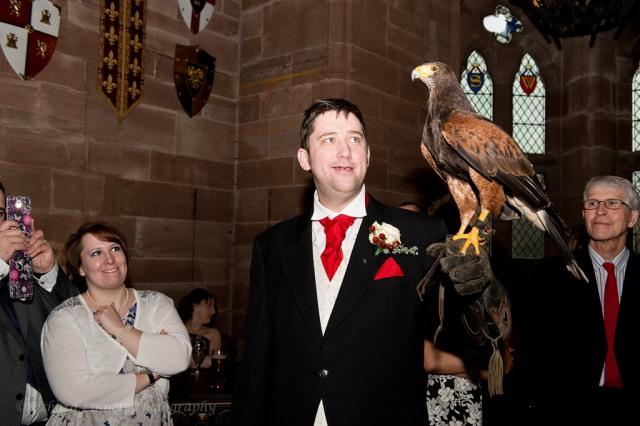 Groom with bird of prey