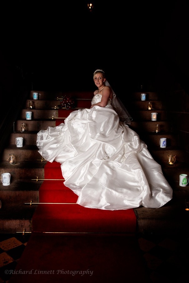 Peckforton Castle stairs - another spot for bridal portraits