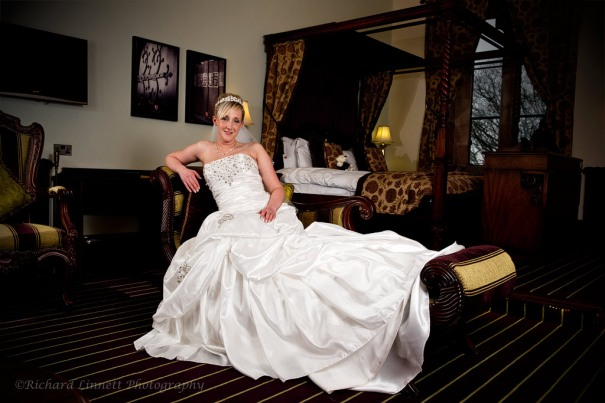 Chaise lounge shot of bride at Peckforton Castle