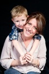 Mother and son studio portrait