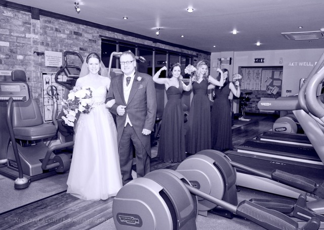 Bridal party going through the Spa gym