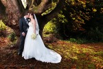 Autumn newlywed portrait