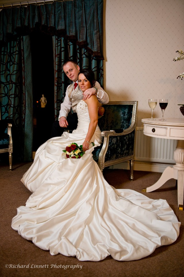 Newlywed portrait in the bridal suit