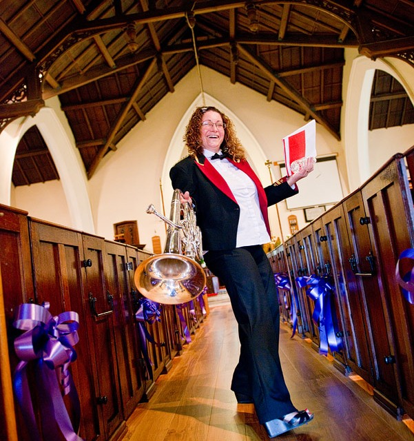 Haydock Brass Band member knows how to perform and pose!