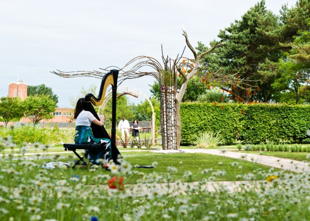 Oona played for parents and officials when the forget Me Not Garden was first dedicated