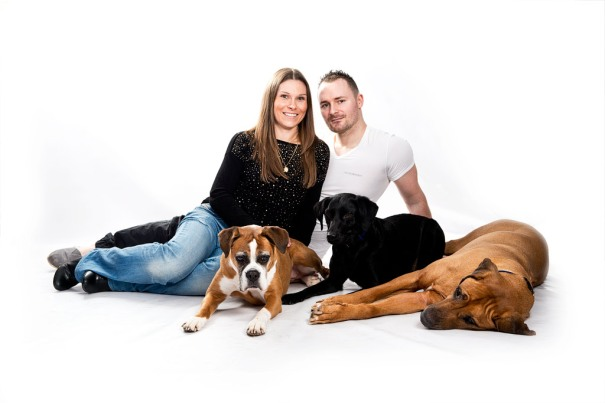 The dogs relax and the owners can enjoy a 'family' picture