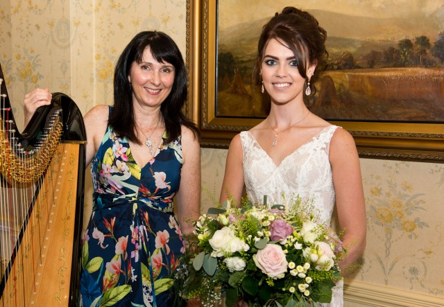 oona Linnett harpist is thanked by the bride for playing her selection of music
