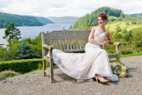 Bride relaxing at Lake Vrynwy Hotel