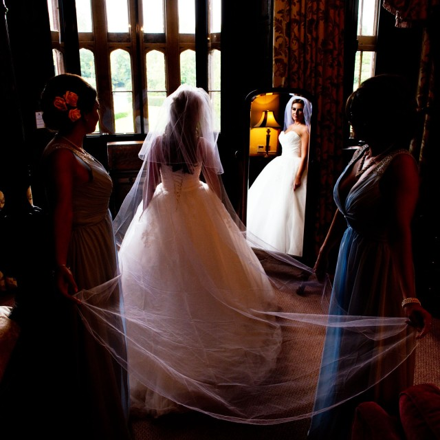 Mirror picture in the bridal suit of Rowton Castle in Shropshire