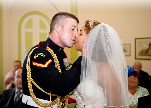 Newlyweds first kiss.