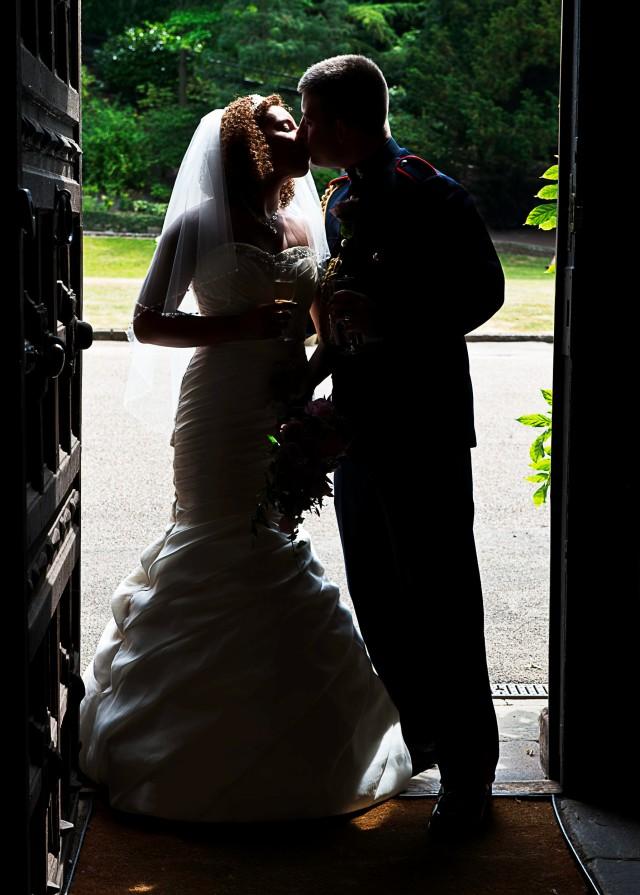 Silhouette of newlyweds at Shrewsbury Castle.