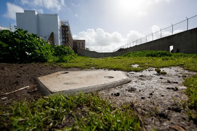 Batters plate Alcatraz prison yard