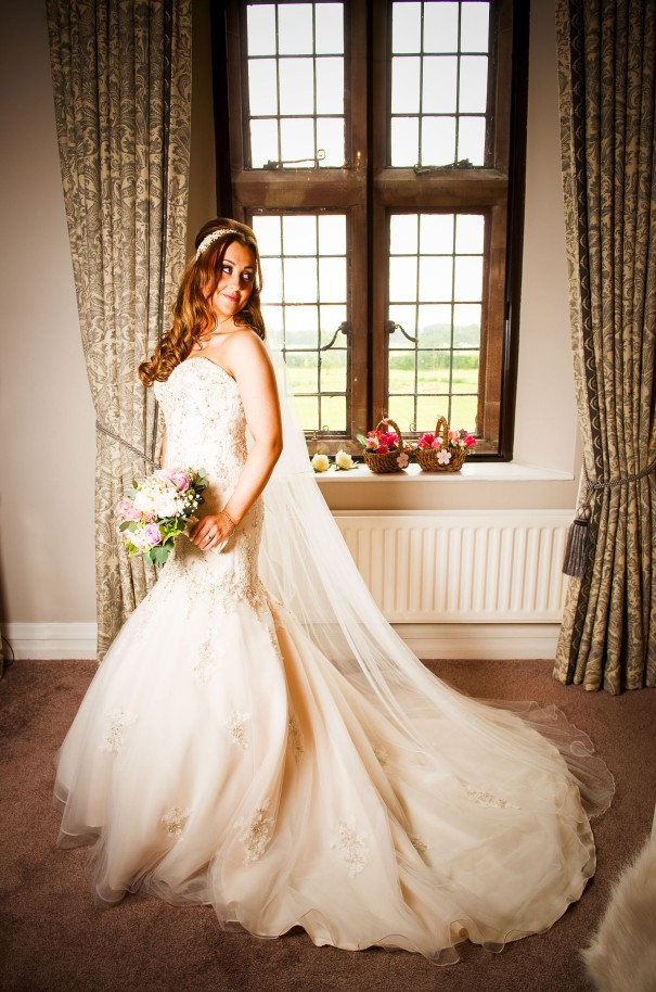 Bridal portrait in the bridal suite at Wrenbury Hall