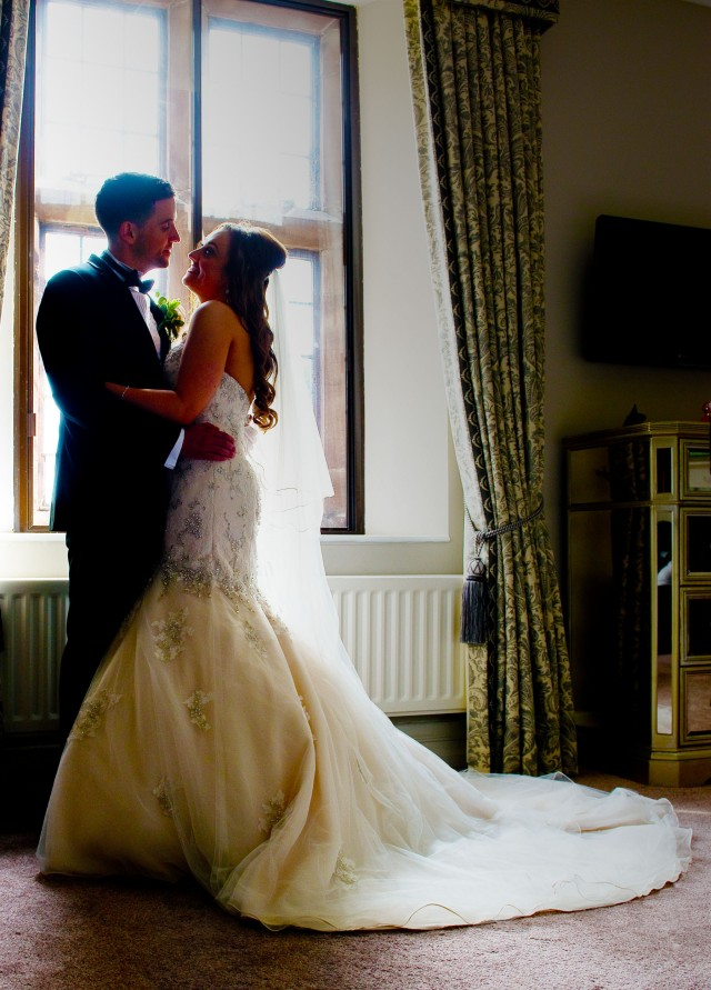 Wrenbury Hall wedding, natural light bride and groom portrait