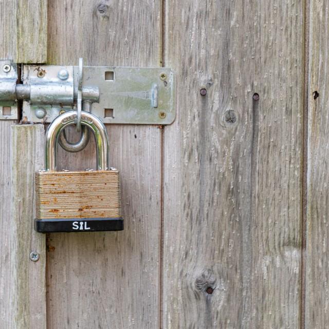 Outhouse padlock.