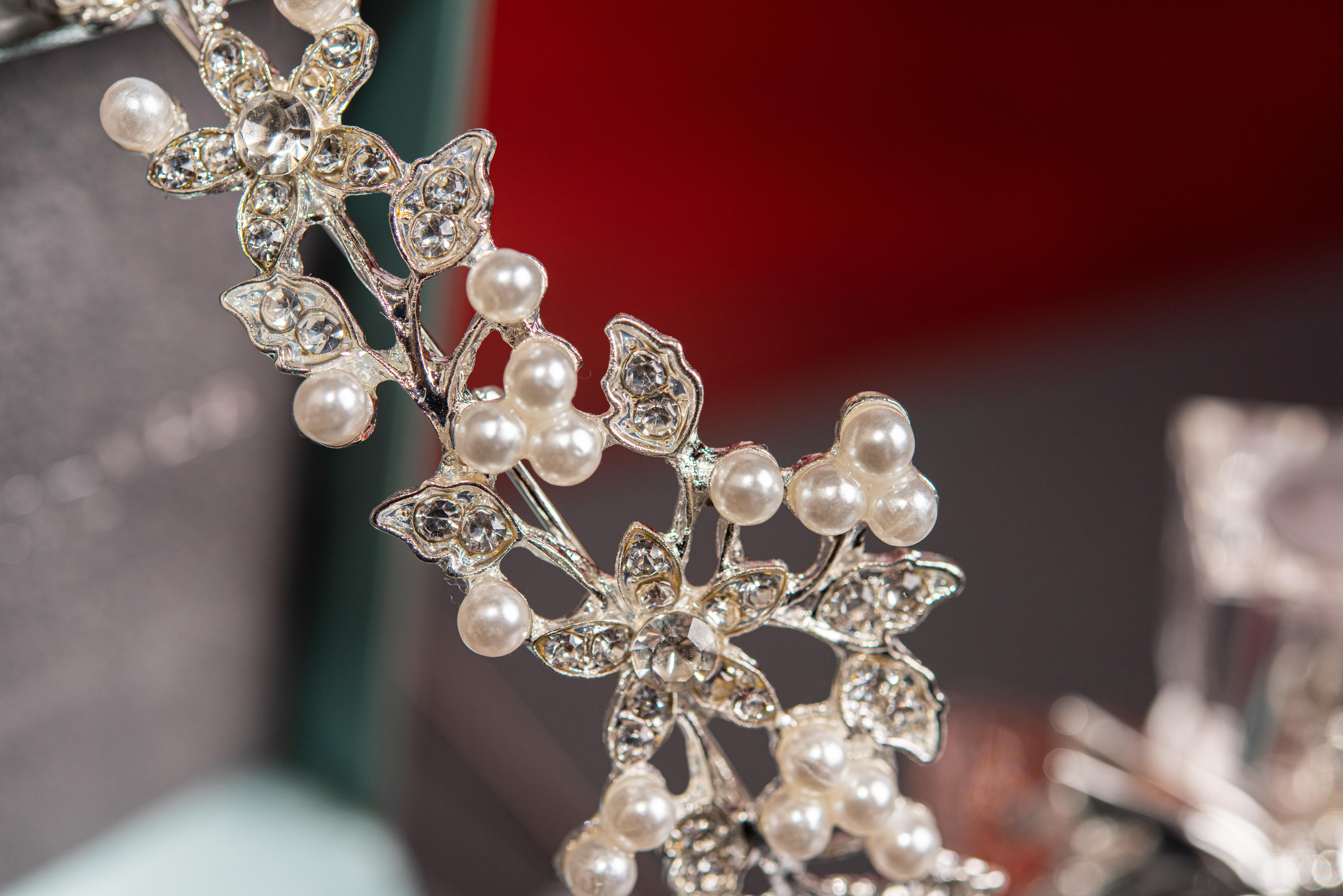 Close up of a wedding tiara.