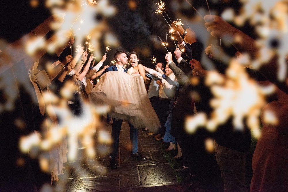 Sparkler wedding departure.