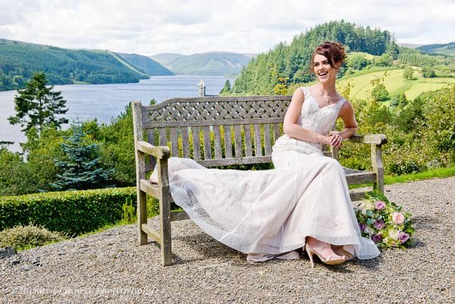Bride in a bench enjoying the sunshine.