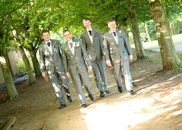 Groom and best men arrive at Bramhall Hall.