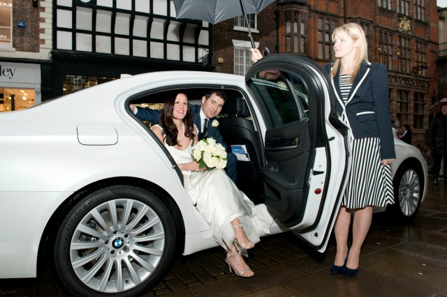 Newlyweds arrive for reception at the grosvenor Hotel in Chester.