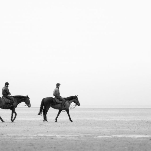Horse exercising on Lytham beach.