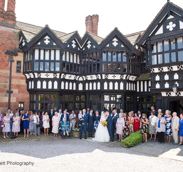 Group wedding photograph outside Hillbark Hotel.