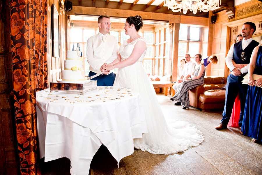 Wedding cake cutting at Hillbark Hotel on the Wirral.